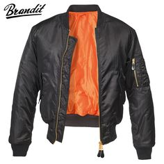 Brandit MA1 Jacket features a water-repellent Nylon shell, bright orange quilted lining, wind-resistant knitted collar, five pockets and elasticated waist and cuffs. It looks great and provides exceptional protection from the elements. Only £42.95! Available now at Military 1st online store. Free UK delivery and returns! Competitive overseas shipping rates.