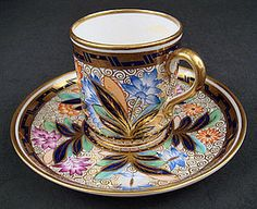 Antique Copeland Imari Style Coffee Cup & Saucer