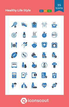 Healthy Life Style  Icon Pack - 35 Flat Icons Flat Icons, Png Icons, Icon Pack, Icon Font, Printed Materials, Mobile App, Healthy Life, Fonts