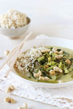 Thai green curry with broccoli and asparagus!
