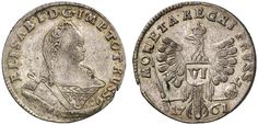 VI Groschen. Russian Coins. Russian Coinage for East Prussia. Konigsberg mint, 1761. 3,07g. Two hair locks on shoulder. Eagle´s right wing tip under P in PRUSS. left under E in MONETA. Bit 720. Good EF. Starting price 2011: 480 USD. Unsold.