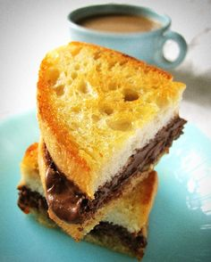 """""""The Little Things - Bread, Butter & Nutella - food on fifth by Teresa Blackburn - simply wonderful idea similar to a grilled cheese sandwich but with Nutella instead. This was served to her as a dessert in Chicago - what a nice idea for a dessert, too. A Food, Good Food, Yummy Food, Nutella Sandwich, Tailgate Food, Let Them Eat Cake, Sandwiches, Sweet Treats, Cooking Recipes"""