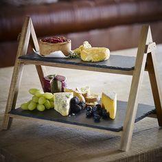 artesa 2st ckiger servierst nder aus holz mit schieferplatten faltbar l deli ideen. Black Bedroom Furniture Sets. Home Design Ideas