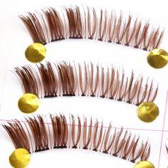 YOKPN Top Transparent Stems Man-Made Fibers Fake Lashes Color Handmade Thick False Lashes Eye End Encryption Long Lashes Tool