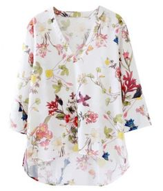 Sweet Three Quarter Sleeve V-Neck Floral Print Women's Blouse Cute Blouses, Blouses For Women, Floral Tops, Floral Prints, Fashion Wear, Hippie Style, Cute Tops, Fashion Prints, Shirt Sleeves