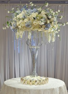 Oh my! This is gorgeous! Love the blue and white; the softer side of weddings. Blue Wedding, Elegant Wedding, Wedding Table, Floral Wedding, Wedding Flowers, Dream Wedding, Wedding Reception, Wedding Ideas, Wine Glass Centerpieces