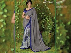 Looking for Grey & Blue Brasso & Georgette Stone Work Saree with Pashmina Dark Blue in India? sarees is your one stop shop for all kinds of designer printed sarees. Laxmipati Sarees, Lehenga Saree, Work Sarees, Sari, Fancy Sarees, Party Wear Sarees, Saree Collection, Bridal Collection, Saree Shopping