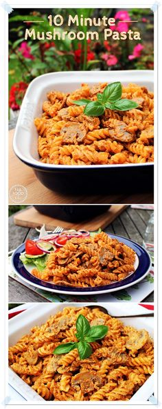 10 Minute Mushroom Pasta in a creamy chilli pesto sauce - your family will love this! Perfect quick meal! Fab Food 4 All