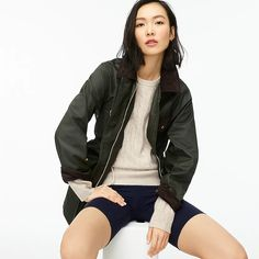 J.Crew: Classic Field Jacket For Women Dressy Outfits, Cool Outfits, J Crew Field Jacket, J Crew Summer, Jackets For Women, Clothes For Women, Women's Clothes, Light Wash Jeans, Green Jacket