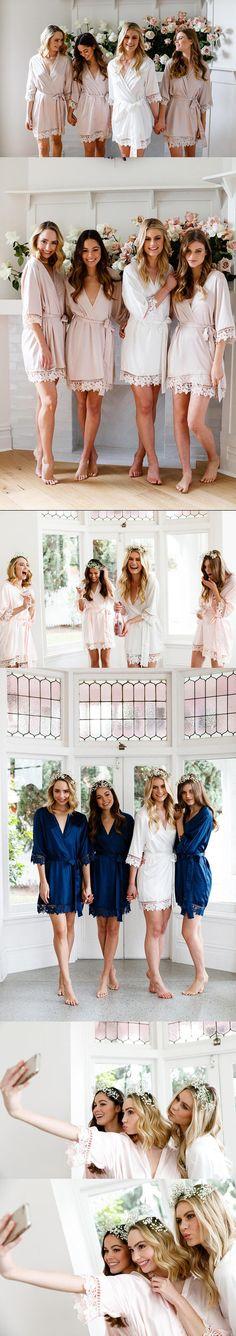 Lace Bridal Robe // Bridesmaid Robes // Robe // Bridal Robe // Bride Robe // Bridal Party Robes // Bridesmaid Gifts // Satin Robe // Lauren Lace Bridal Robe, Bridal Party Robes, Spring Dresses Casual, Bridesmaid Robes, Lace Trim, Wedding Dresses, Beauty, Fashion, Bride Dresses