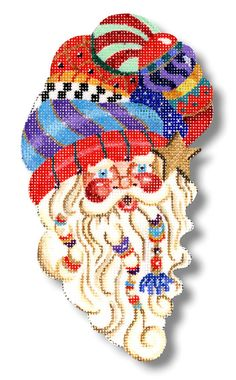 "Needlepoint Santa Ornament - Curly Que Santa with intricately designed ""turban"" hat. design: 7"" high 18 mesh  $56.00"