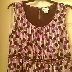 Motherhood Maternity silver and purple party dress Perfect for your baby shower or date night. This sleeveless dress ties in back and has elastic through the waist. Flattering empire waist. Great for work and play! Size L  sequins and beading in middle. Motherhood Maternity Dresses Midi