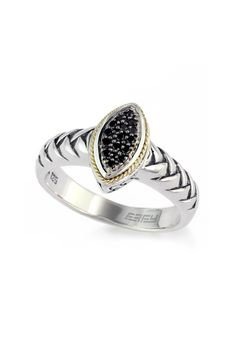 Effy 925 Sterling Silver & 18K Gold Black Diamond Ring