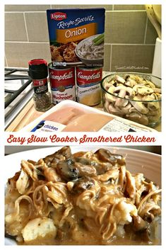 Easy Slow Cooker Smothered Chicken EASY SLOW COOKER SMOTHERED CHICKEN - Comfort food that's simple to make, so good. With just a few ingredients and minutes to whip together, this simple and flavorful slow cooker smothered chicken recipe is a meal the who Smothered Chicken Recipes, Slow Cooker Shredded Chicken, Chicken Cooker, Easy Crockpot Chicken, Crockpot Chicken And Stuffing, Slow Cooker Recipes, Crockpot Recipes, Cooking Recipes, Easy Recipes