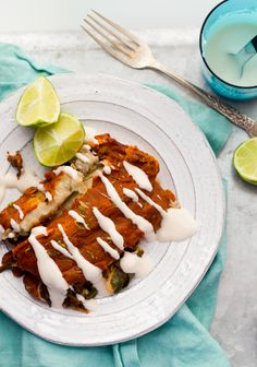 Easy Black Bean Spinach Enchiladas, with Lime Cream + Homemade Sauce