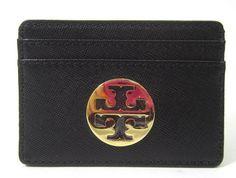 TORY BURCH Black Leather Saffiano Slim Card Holder  at www.ShopLindasStuff.com