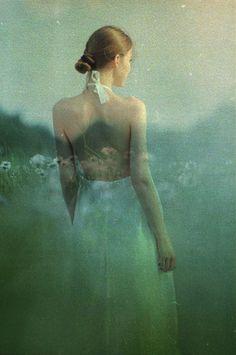 Fashion Editorial  Dress Tomas Chlapecka Double exposure  #fashionphotography #doubleexposure #nature #whitedress #model #camera