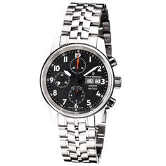 Revue Thommen 16051.6137 'Auto Chrono' Black Dial Bracelet Swiss Automatic Watch
