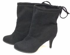 Diba Womens Low Tilda Welt Ankle Boots Black Faux Suede Drawstring Size 10M #Diba #LowBoots #Party