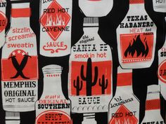 FUN HOT SAUCE BOTTLES SOUTHWEST chili cactus BLACK ORANGE FABRIC by the 1/2 yd #michaelmiller