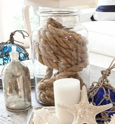 Coiled rope decor Ideas. Jar with rope: http://www.ourboathouse.com/glass-jar-with-rope/