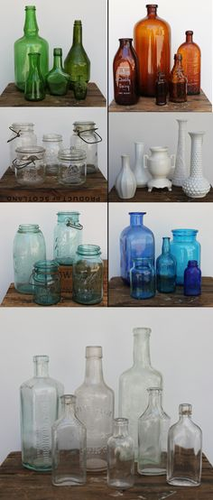 vintage bottles + jars -- I have clear, amber, and a small selection of light teal masons