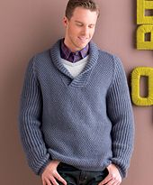 This pullover combines some of my favorite elements for a men's sweater: a simple stitch pattern, classic saddleshoulder detailing, and a comfortable, deeply ribbed shawl collar. In this case, both the shawl collar and the hybrid raglan/saddle sleeves are knit in plush brioche rib, while the body is knit in a double seed stitch.