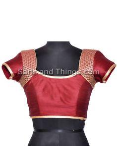 Maroon Brocade Readymade Partywear Saree Blouse R-5   Saris and Things