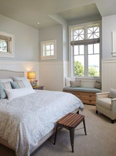 Beach-themed bedroom - love those windows...