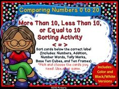 $3 More Than, Less Than, or Equal to 10 Sorting Activity (Focus Numbers 0-20)