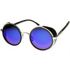 2166d854d480 Steampunk side shields Goggle Sunglasses. Semi-mirrored Blue lenses. Retro.  Hi Tek Ozzy Osbourne