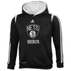 adidas Brooklyn Nets Youth On-Court Pullover Hoodie - Black - $24.99