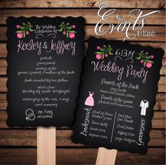 Pre-made Non-Custom Sample for 2 Dollars or Sets of 50 Custom Printed Wedding Program Fans -  scalloped edge chalkboard fan