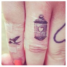 Elephant Finger Tattoo Finger tattoo bird cage