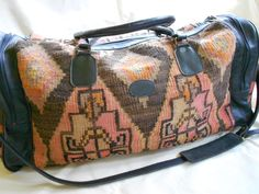 Vintage kilim and leather carry on weekender by laughingcrickets, $315.00