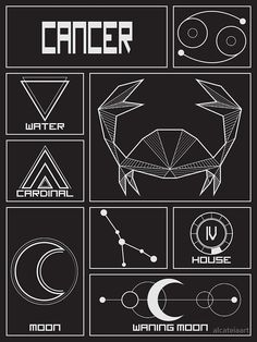 Zodiac Signs Elements, Zodiac Signs Symbols, Arm Tattoo, Body Art Tattoos, Cancer Crab Tattoo, Celestial Tattoo, Horoscope Tattoos, Virgo And Cancer, Zodiac Art