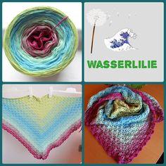 """Tuch aus Farbverlaufsgarn """"Wasserlilie"""" von 500 m bis 1500 m Lauflänge, 3 bis 5fädig ab 6,90 € unter www.garnstube.de"""