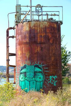 Street art | Mural (abandoned factory, North Bay, USA) by GATS [Graffiti Against The System]