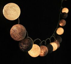 SLB293 Soft Grey Cotton Ball String Lights - Bedroom Fairy Wedding Patio Party