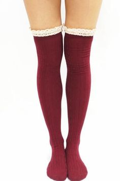 Comfy Lace Trim Knit Thigh High Boot Socks- Bungundy