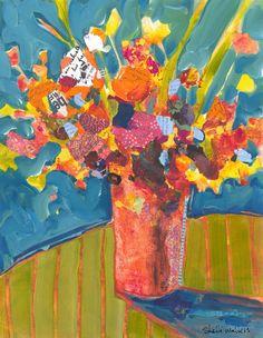 Flower Bouquet Vase Original Painting van ShelliWalters op Etsy, $275.00