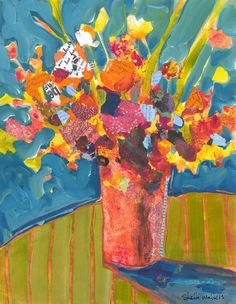 Flower Bouquet Vase Original Painting por ShelliWalters en Etsy