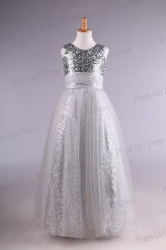 Pageant? Lovely silver sequins floorlength flower girl by promgirldress, $38.50