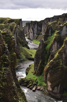 Amazing Things in the World: River Canyon, Fjadrargljufur, Iceland.    The Fjadrargljufur Canyon is one of the most beautiful and lovely canyons.