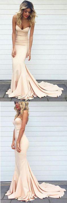 Sweetheart Sweep Train Pink Mermaid Prom Dress Evening Dress PG355#eveningdress prom #mermaid
