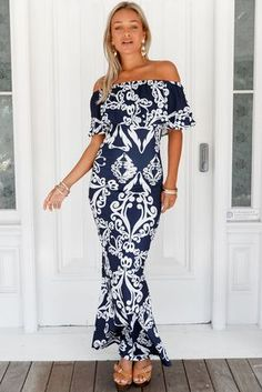1483a38446a45 White Tendril Print Navy Ruffle Off-the-shoulder Maxi Dress MB61189-6 –