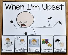 "When I'm Upset Card - This printable behavior support is a choice card for students with Autism or other visual learners. The ""When I'm Upset,"" card offers students calming choices to be done in a ""quiet area,"" when upset or calming down from a tantrum. Behaviour Management, Behaviour Chart, Classroom Management, Behavior Charts For Kids, Positive Behavior Chart, Classroom Behavior, Autism Classroom, Classroom Decor, Behavior Management"