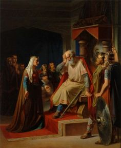 King Gorm the Old (Gormr inn gamli, d. 958/959) receives the news of the death of his son Canute. Gorm was a descendent of Ragnar Lodbrok. (A.Thomsen, Danish artist,1813-'86)