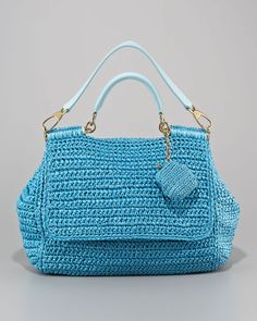 Dolce & Gabbana Miss Sicily Crochet Handbag in sky blue