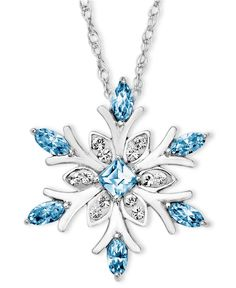 Kaleidoscope Sterling Silver Necklace, Blue Crystal Snowflake Pendant with Swarovski Elements - Necklaces - Jewelry  Watches - Macys     http://www.adlero.com